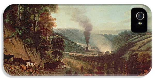 Industrial iPhone 5 Cases - Morning View Of Coalbrookdale, 1777 Oil On Canvas iPhone 5 Case by William Williams