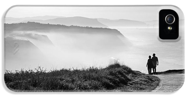 Sea iPhone 5 Cases - Morning Walk With Sea Mist iPhone 5 Case by Mikel Martinez de Osaba