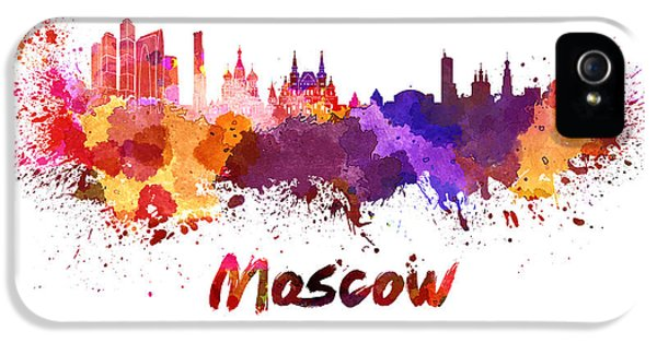 Moscow iPhone 5 Cases - Moscow skyline in watercolor iPhone 5 Case by Pablo Romero