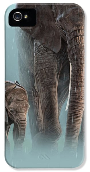 Elephant iPhone 5 Cases - Mother and Child iPhone 5 Case by Aaron Blaise