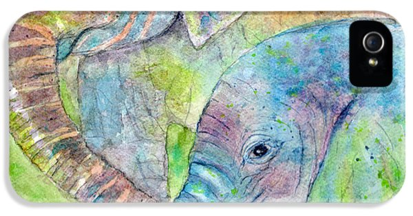 Elephant iPhone 5 Cases - Mother and Child iPhone 5 Case by Marie Stone Van Vuuren