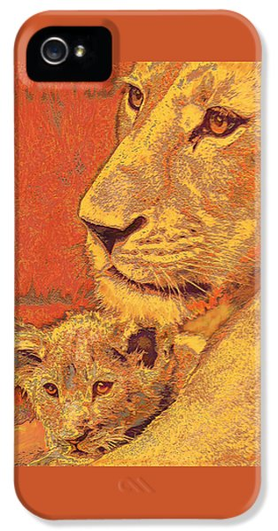 Lion iPhone 5 Cases - Mother And Cub iPhone 5 Case by Jane Schnetlage