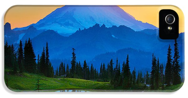 Tourism iPhone 5 Cases - Mount Rainier Goodnight iPhone 5 Case by Inge Johnsson