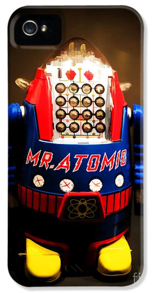 Robot iPhone 5 Cases - Mr. Atomic Tin Robot iPhone 5 Case by Edward Fielding