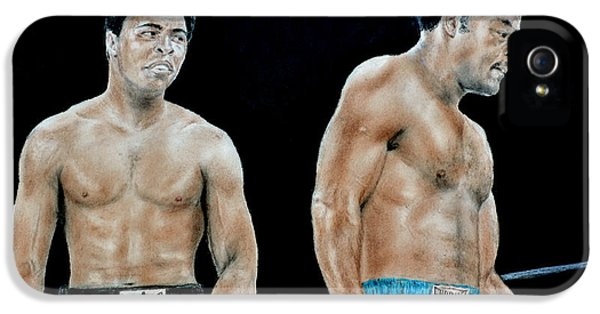 Down In The Garden iPhone 5 Cases - Muhammad Ali vs George Foreman iPhone 5 Case by Jim Fitzpatrick