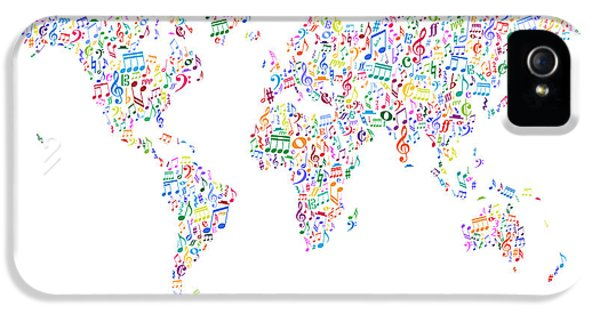 World Map iPhone 5 Cases - Music Notes Map of the World iPhone 5 Case by Michael Tompsett