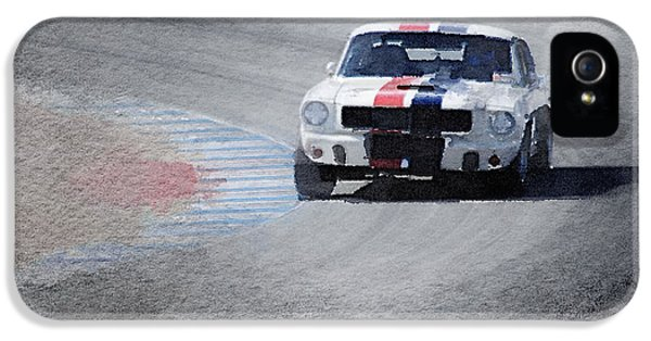 Ford Classic Car iPhone 5 Cases - Mustang on Race Track Watercolor iPhone 5 Case by Naxart Studio