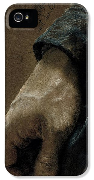 Sketch iPhone 5 Cases - My Right Hand Drawn With My Left Hand, 1848 Coloured Chalk On Paper iPhone 5 Case by Adolph Friedrich Erdmann von Menzel