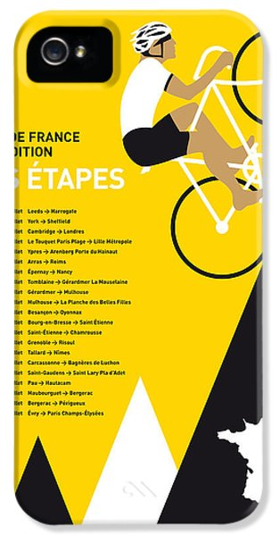 Spain iPhone 5 Cases - My Tour De France Minimal Poster 2014-etapes iPhone 5 Case by Chungkong Art