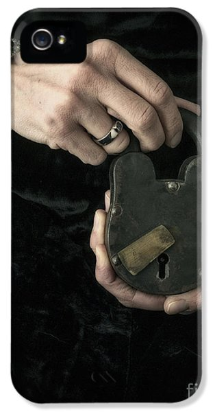 Thriller iPhone 5 Cases - Mysterious Woman with Lock iPhone 5 Case by Edward Fielding
