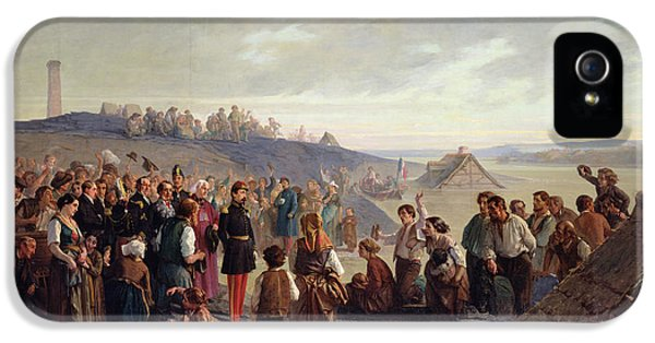 Anger iPhone 5 Cases - Napoleon Iii Visiting The Slate Quarries Of Angers, 1856 Oil On Canvas iPhone 5 Case by Alexandre Antigna