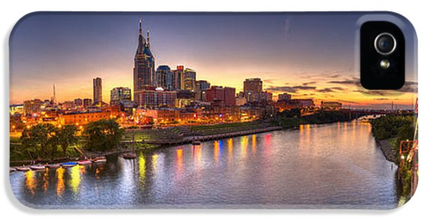 Skyscraper iPhone 5 Cases - Nashville Skyline Panorama iPhone 5 Case by Brett Engle