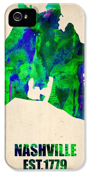 Atlas iPhone 5 Cases - Nashville Watercolor Map iPhone 5 Case by Naxart Studio