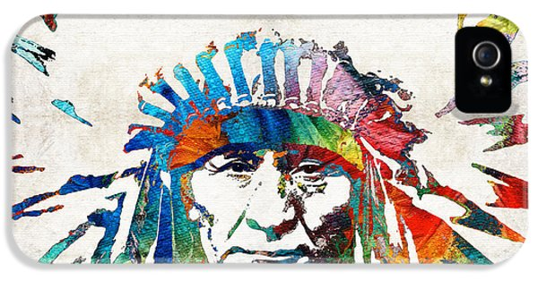 Pipes iPhone 5 Cases - Native American Art - Chief - By Sharon Cummings iPhone 5 Case by Sharon Cummings