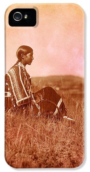 Native American Woman iPhone 5 Cases - Native American Piegan Blackfeet woman iPhone 5 Case by Cat Whipple