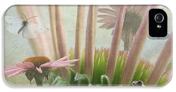 Cone Flowers And Butterflies iPhone 5 Cases - Natures Whimsy iPhone 5 Case by Angie Vogel