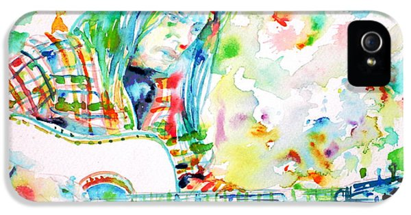 Neil Young Playing The Guitar - Watercolor Portrait.1 IPhone 5 / 5s Case by Fabrizio Cassetta