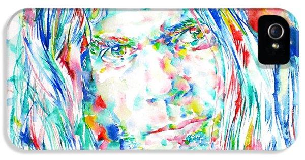 Neil Young - Watercolor Portrait IPhone 5 / 5s Case by Fabrizio Cassetta