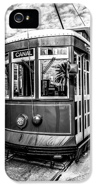 Cable iPhone 5 Cases - New Orleans Streetcar Black and White Picture iPhone 5 Case by Paul Velgos