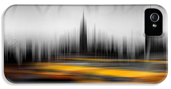 Taxi iPhone 5 Cases - New York City Cabs Abstract iPhone 5 Case by Az Jackson