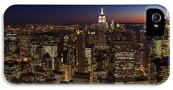 Times Square iPhone 5 Cases - New York City Skyline At Dusk iPhone 5 Case by Mike Reid
