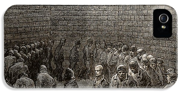 Men In Black iPhone 5 Cases - Newgate Prison Exercise Yard iPhone 5 Case by Gustave Dore