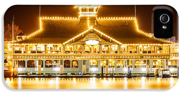 Newport Harbor iPhone 5 Cases - Newport Beach Balboa Pavilion at Night Picture iPhone 5 Case by Paul Velgos