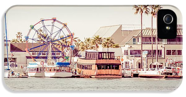 Newport Harbor iPhone 5 Cases - Newport Beach Fun Zone Retro Panorama Photo iPhone 5 Case by Paul Velgos