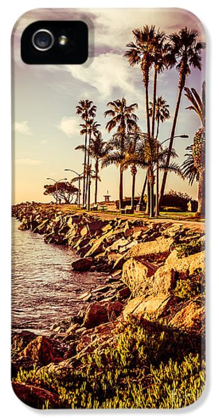 Newport Harbor iPhone 5 Cases - Newport Beach Jetty Vintage Filter Picture iPhone 5 Case by Paul Velgos