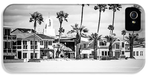 Balboa iPhone 5 Cases - Newport Beach Oceanfront Homes Black and White Picture iPhone 5 Case by Paul Velgos