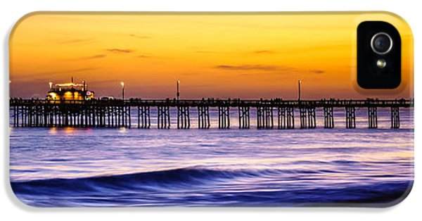 Balboa iPhone 5 Cases - Newport Beach Pier Panorama Sunset Photo iPhone 5 Case by Paul Velgos