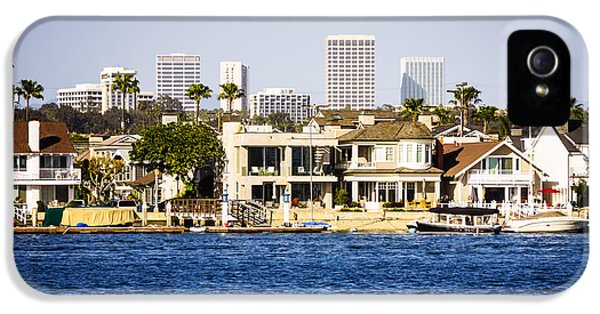 Newport Harbor iPhone 5 Cases - Newport Beach Skyline and Waterfront Homes Picture iPhone 5 Case by Paul Velgos
