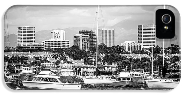 Newport Harbor iPhone 5 Cases - Newport Beach Skyline Black and White Picture iPhone 5 Case by Paul Velgos