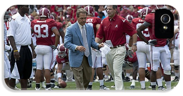 Crimson Tide iPhone 5 Cases - Nick Saban and the Tide iPhone 5 Case by Mountain Dreams