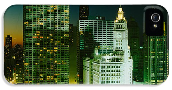 Il iPhone 5 Cases - Night Chicago Il Usa iPhone 5 Case by Panoramic Images