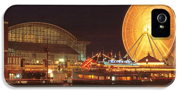Il iPhone 5 Cases - Night Navy Pier Chicago Il Usa iPhone 5 Case by Panoramic Images
