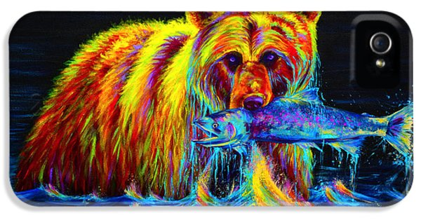Fishing iPhone 5 Cases - Night of the Grizzly iPhone 5 Case by Teshia Art
