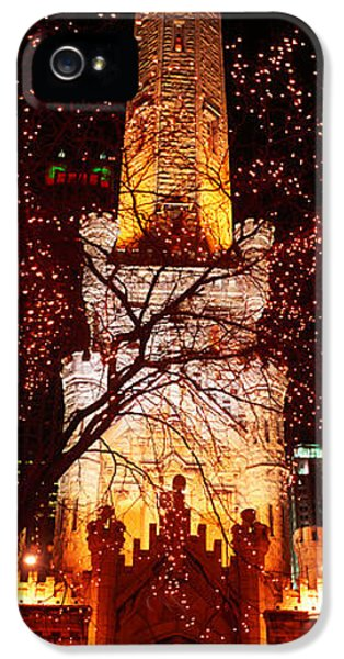 Il iPhone 5 Cases - Night, Old Water Tower, Chicago iPhone 5 Case by Panoramic Images