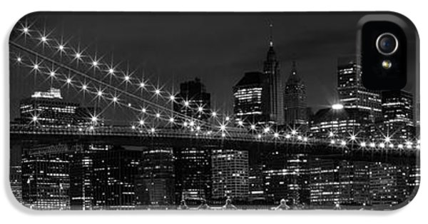 Us iPhone 5 Cases - Night-Skyline NEW YORK CITY bw iPhone 5 Case by Melanie Viola