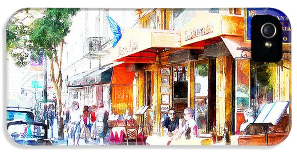 Ristorante iPhone 5 Cases - North Beach Street Scene Outdoor Dining San Francisco 7d7451wcstyle iPhone 5 Case by Wingsdomain Art and Photography