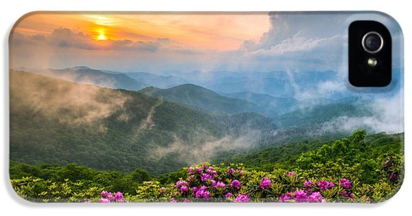 Pink Sunrise iPhone 5 Cases - North Carolina Blue Ridge Parkway Spring Appalachian Mountains NC iPhone 5 Case by Dave Allen