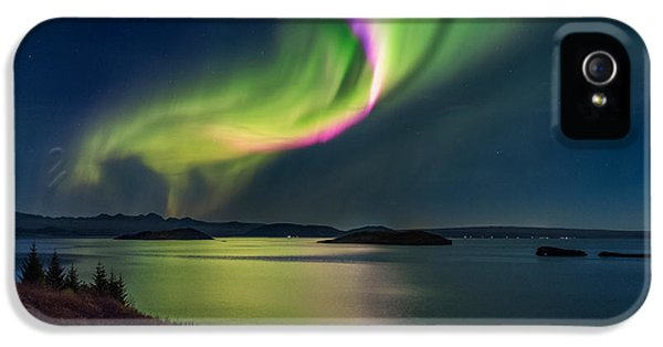 Dramatic Skies iPhone 5 Cases - Northern Lights Over Thingvallavatn Or iPhone 5 Case by Panoramic Images