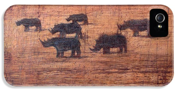 Roaming iPhone 5 Cases - Northern White Rhinoceros, 2008 Oil On Board iPhone 5 Case by Charlie Baird