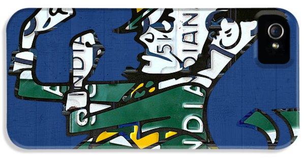 Irish iPhone 5 Cases - Notre Dame Fighting Irish Leprechaun Vintage Indiana License Plate Art  iPhone 5 Case by Design Turnpike