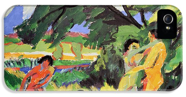 Playful iPhone 5 Cases - Nudes Playing under Tree iPhone 5 Case by Ernst Ludwig Kirchner