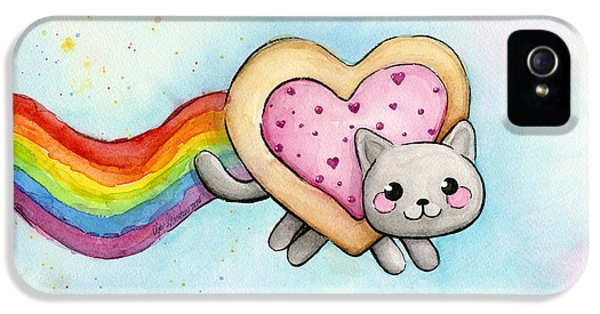 Shapes iPhone 5 Cases - Nyan Cat Valentine Heart iPhone 5 Case by Olga Shvartsur