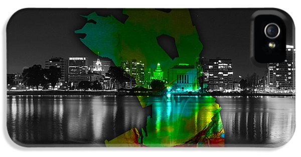 Oakland Map And Skyline Watercolor IPhone 5 / 5s Case by Marvin Blaine