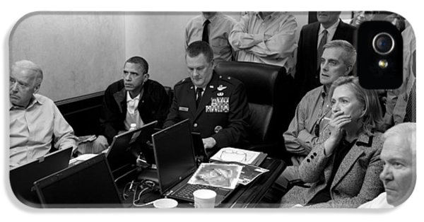 Obama iPhone 5 Cases - Obama In White House Situation Room iPhone 5 Case by War Is Hell Store