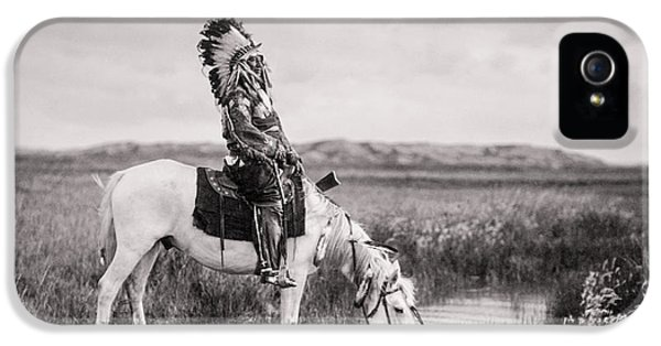 Native American Indian iPhone 5 Cases - Oglala Indian Man circa 1905 iPhone 5 Case by Aged Pixel