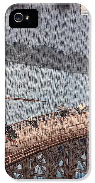 Raining iPhone 5 Cases - Ohashi Sudden Shower at Atake iPhone 5 Case by Ando Hiroshige